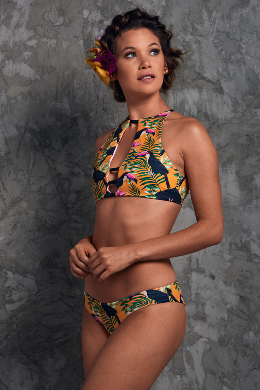 Yellow bikini tropical print with beads Tayrona Toucans Bikini Palmazul Beachwear Side