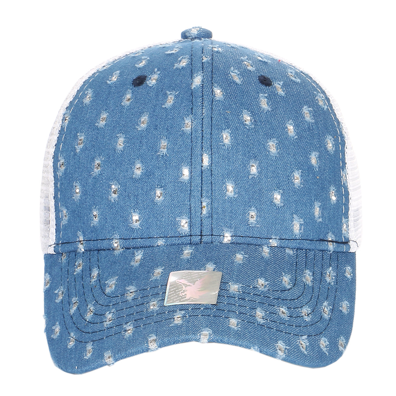 Glitter Distressed Denim Curved Bill Trucker Hat