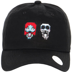 Embroidered Pixelated Nightmare Before Christmas Sally and Jack Characters Dad Hat
