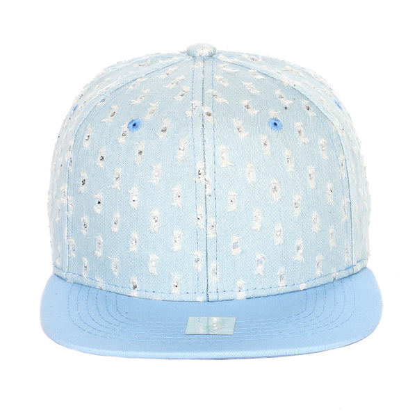Glitter Distressed Denim Flat Bill Adjustable Snapback