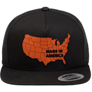 USA Map Leather Patch on Flexfit Yupoong Classics