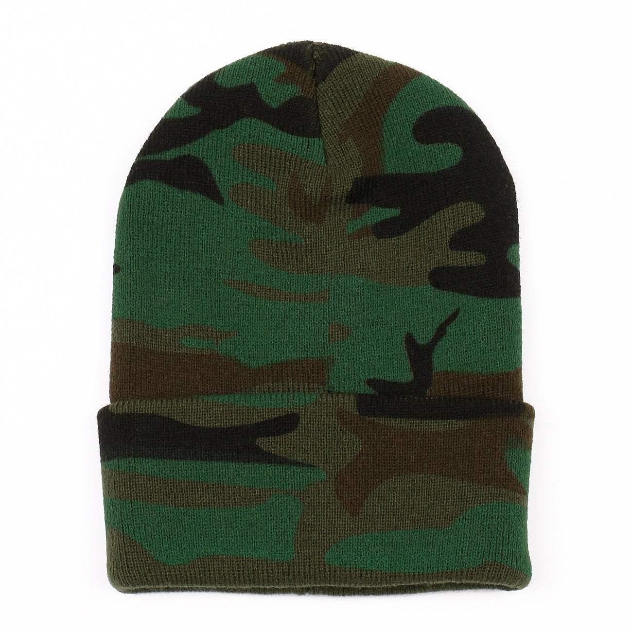 Long Cuffed Knit Green Camouflage Beanie
