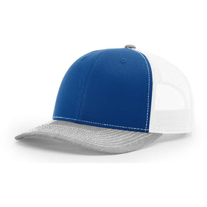 Richardson Twill Mesh Back Trucker Hat with Contrast Stitching and Adjustable Plastic Snapback