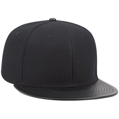 Wool Blend Twill w/ Faux Leather Round Flat Visor Six Panel Pro Style Snapback Hat