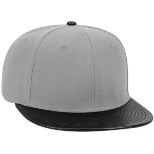"WOOL BLEND TWILL W/ FAUX LEATHER ROUND FLAT VISOR ""OTTO SNAP"" SIX PANEL PRO STYLE SNAPBACK HAT"