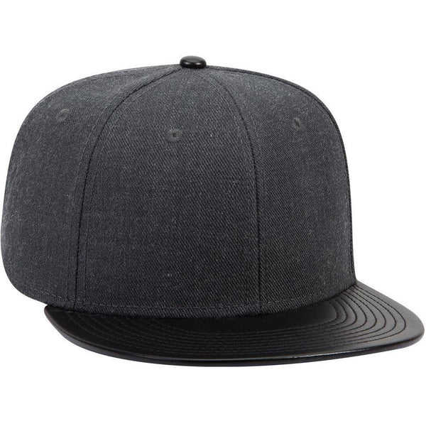 Wool Blend Twill w/ Faux Leather Round Flat Visor Six Panel Mid Profile Style Snapback Hat