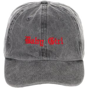 Embroidered Old English Baby Girl Logo on Unstructured Dad Hat