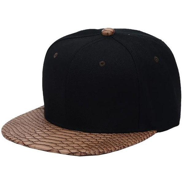 Faux Leather Python Skin Flat Bill Adjustable Strapbacks