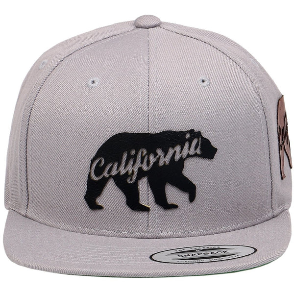 California Bear Leather Patch on Flexfit Yupoong Classics Snapback