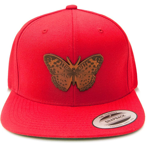 Wild Butterfly Leather Patch on Flexfit Yupoong Classics Snapback