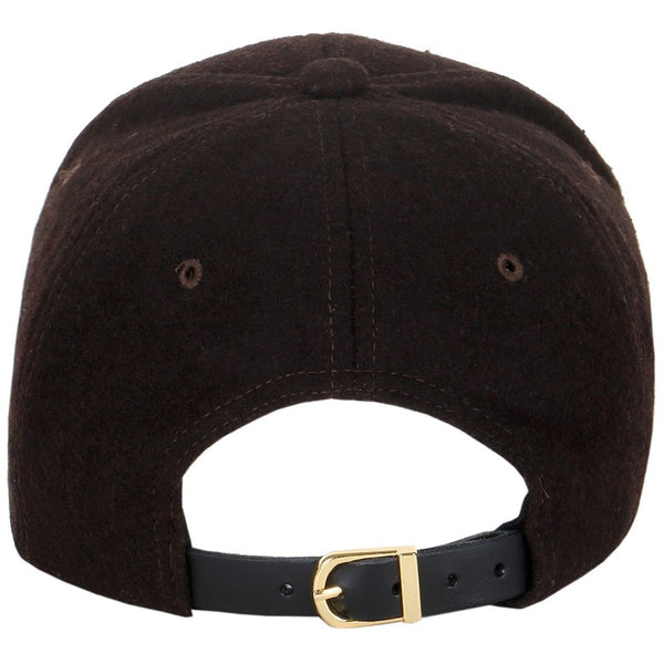 Wool Low Profile Leather Strapback Baseball Cap