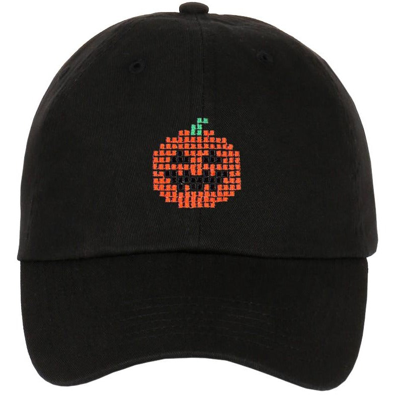 Embroidered Pixelated Ghost Pumpkin Characters Strapback Dad Hat