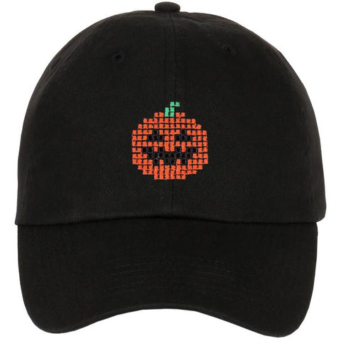 Embroidered Pixelated Ghost Pumpkin Characters Dad Hat