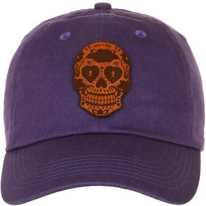 Skull Leather Cut Out Patch on Unstructured Dad Hat