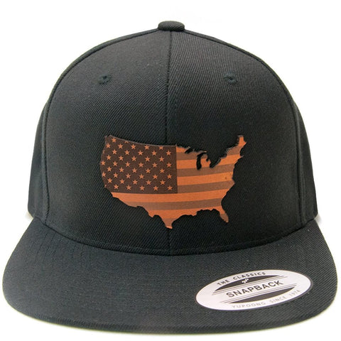 USA America Leather Patch on Flexfit Yupoong Classics
