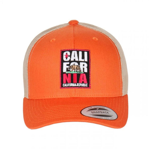 California Republic Embroidered Patch on Flexfit Retro Curved Trucker Hat
