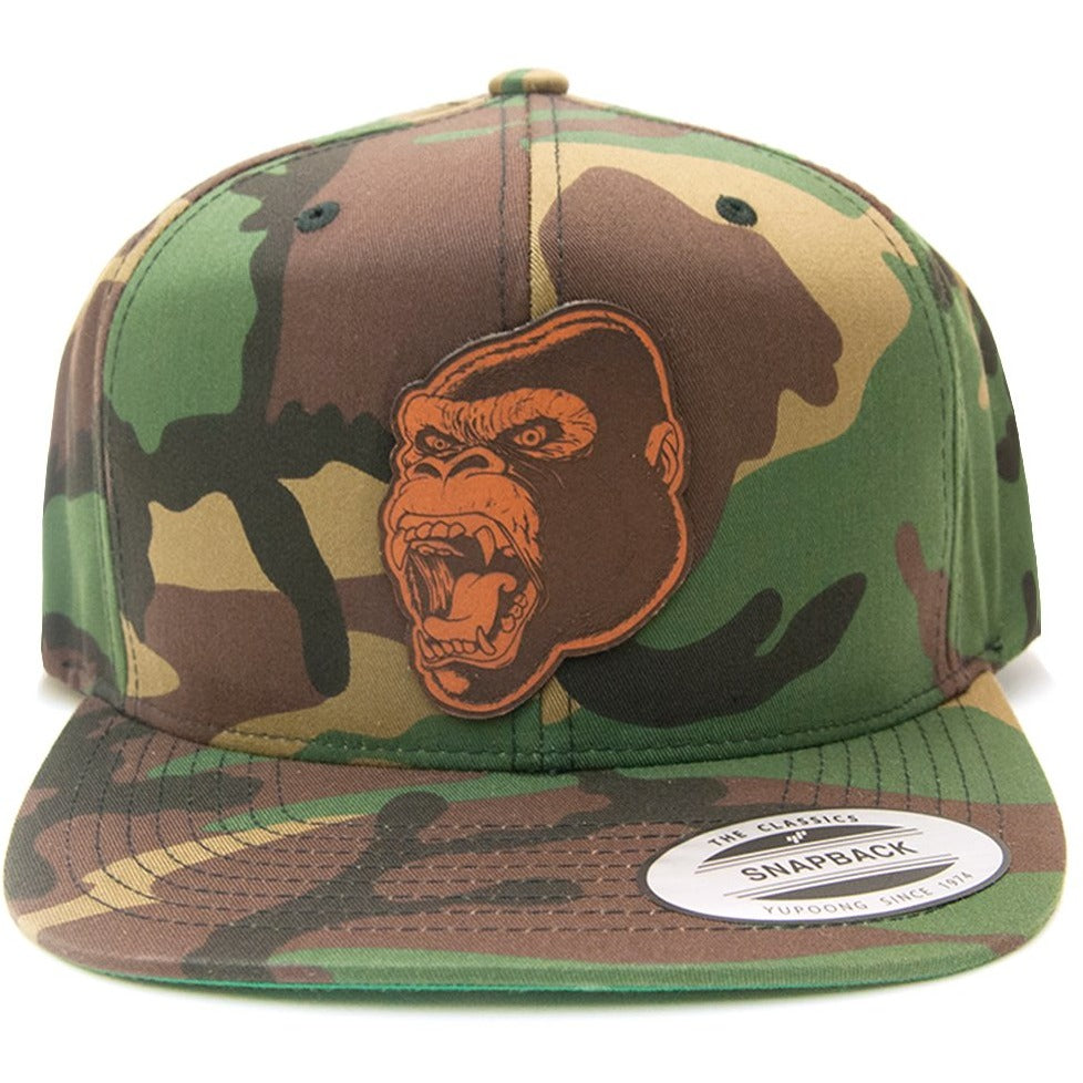 Gorilla Leather Patch on Flexfit Yupoong Classics Camo Snapback