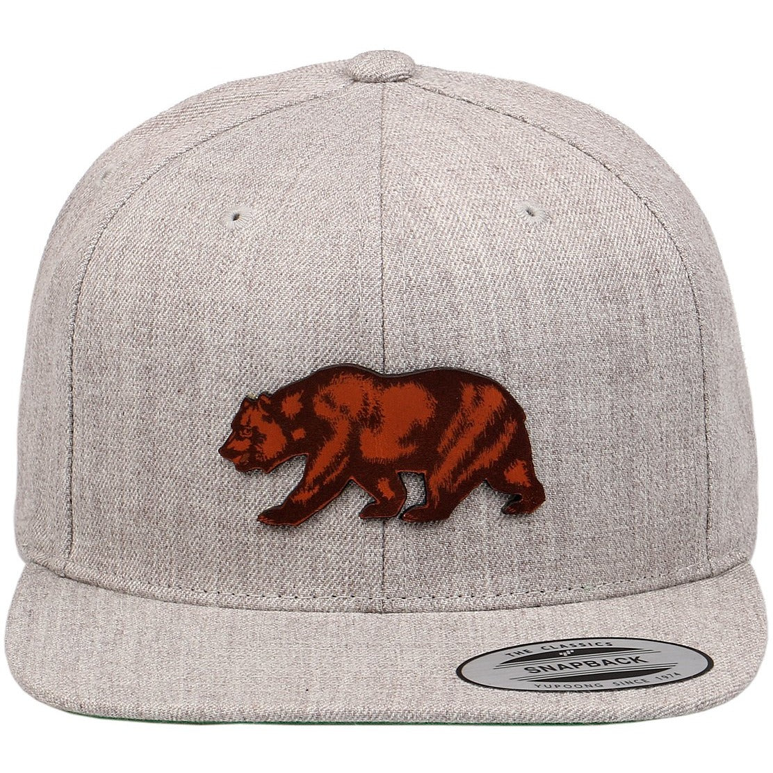 California Grizzly Bear Cut Out Leather Patch on Flexfit Yupoong Classics  Snapback 3387d119c15