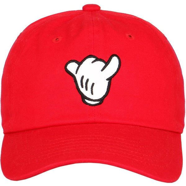 Mickey Mouse Hand Logo on Unstructured Strapback Dad Hat