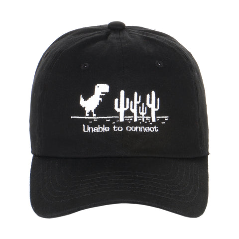Embroidered Pixelated Dinosaur T-rex Run Chrome Game Character Dad Hat