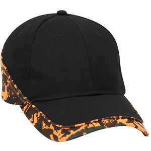 Camouflage Piping Design Brushed Cotton Blend Twill Six Panel Low Profile Baseball Cap