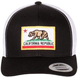 California Bear Embroidered Patch on Flexfit Retro Curved Trucker Hat 1775da8ea390