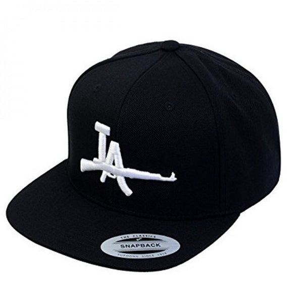 LA AK Embroidery Flat Bill Adjustable Yupoong Classic Snapback Cap by Flexfit