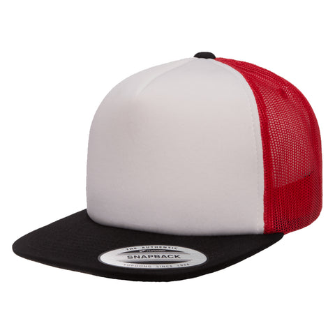 Flexfit Yupoong Classic White Foam Trucker Hat w/ Adjustable Snap