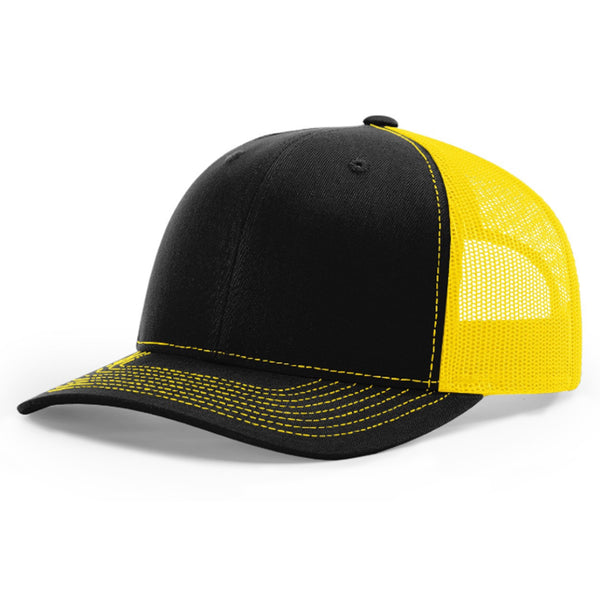 Richardson 112 Twill Mesh Back Trucker Hat with Contrast Stitching and Adjustable Plastic Snapback