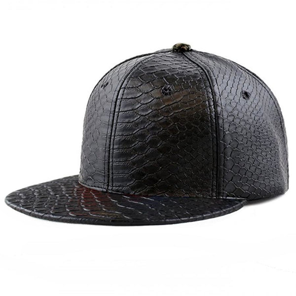 Plain Crocodile PU Leather Flatbill Buckle Strapback Adjustable Hat