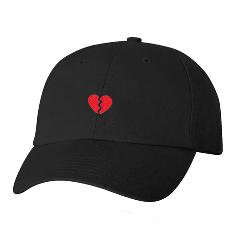 """Heartbroken"" Embroidered Solid Adjustable Strapback Dad Hat"