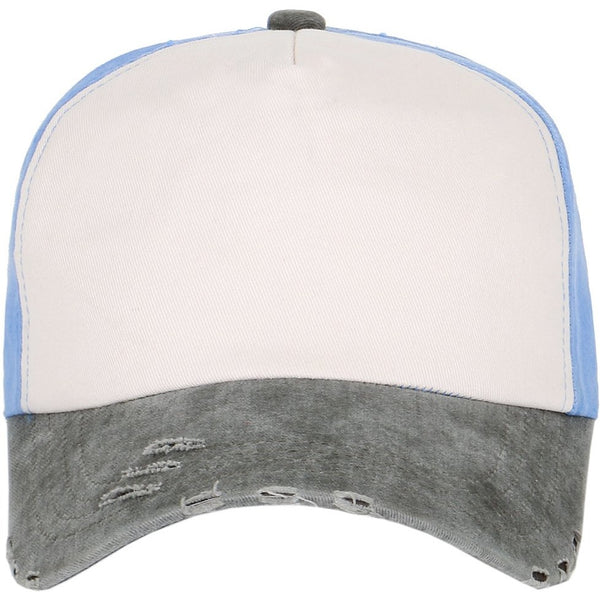 Tri-Color Vintage Washed 5 Panel Foam Strapback Hat
