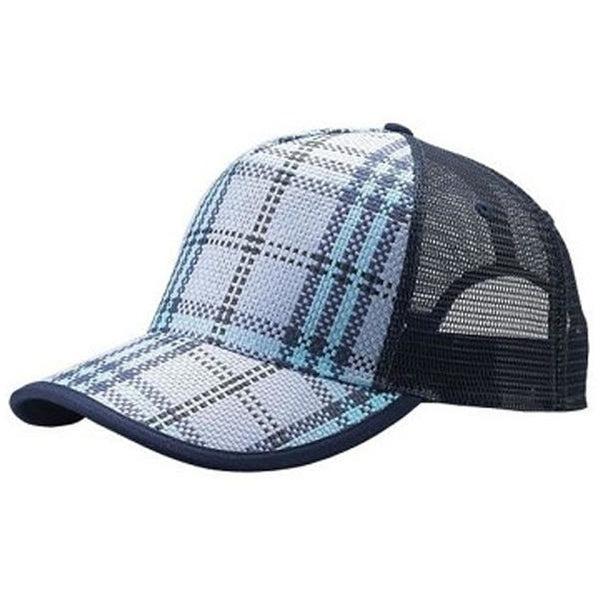 Plaid Trucker Hat W/Mesh Back Straw Hats