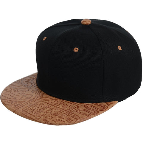 Egyptian Pattern PU Leather Snapback Cap - More Colors