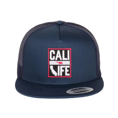 Cali Life Embroidered Patch on Flexfit Classic Flatbill Trucker Hats