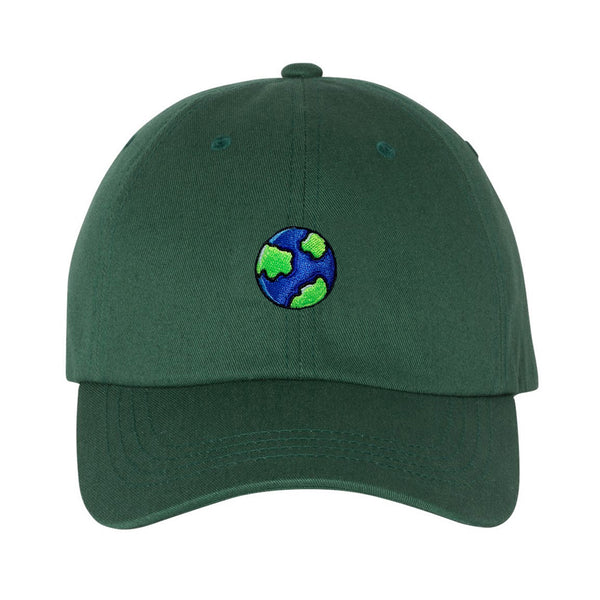 Embroidered Earth Globe Emoji Planet Day Cotton Baseball Cap Adjustable Dad Hat