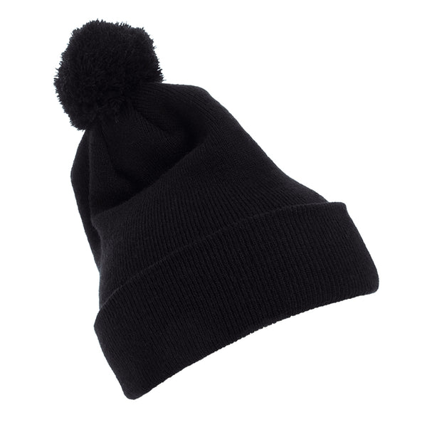 Flexfit Yupoong Cuffed Knit Beanie with Pom Pom