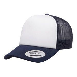 "Flexfit ""6320W"" Yupoong Classics Curved White Foam Trucker Cap w/ Adjustable Snap"