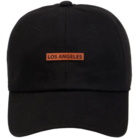 Los Angeles Leather Cut Out Patch on Unstructured Dad Hat