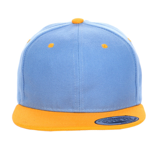 Two-Tone Blank Adjustable Flat Bill Plain Snapback Hats - More Colors
