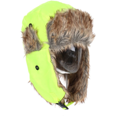 Winter Unisex Knit Neon Trooper Hat w/ Faux Fur Trim
