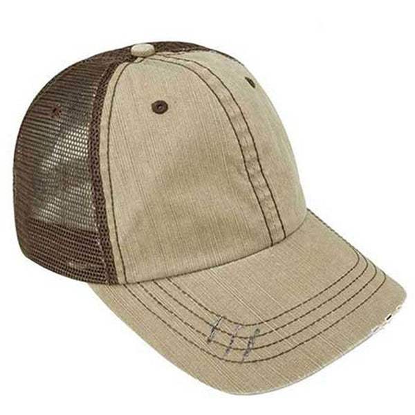 Low Profile Herringbone Cotton Twill Soft Mesh Trucker Hats