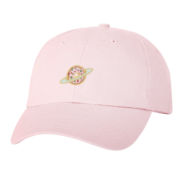 """Donut Planet"" Embroidered Solid Adjustable Strapback Dad Hat"