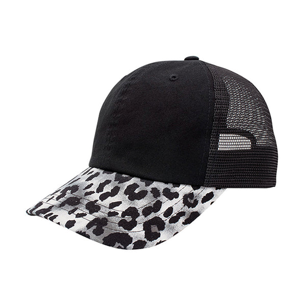 Low Profile Leopard Print Mesh Back Fashion Trucker Cap