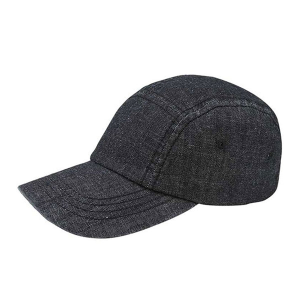 5 Panel Washed Denim Adjustable Strapback Cap