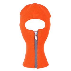 Winter Acrylic Knitted 1-Hole Zip-Up Reflector Ski Mask
