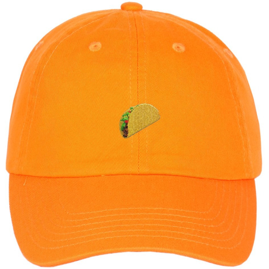 Taco Emoji Embroidered on Unstructured Dad Hat