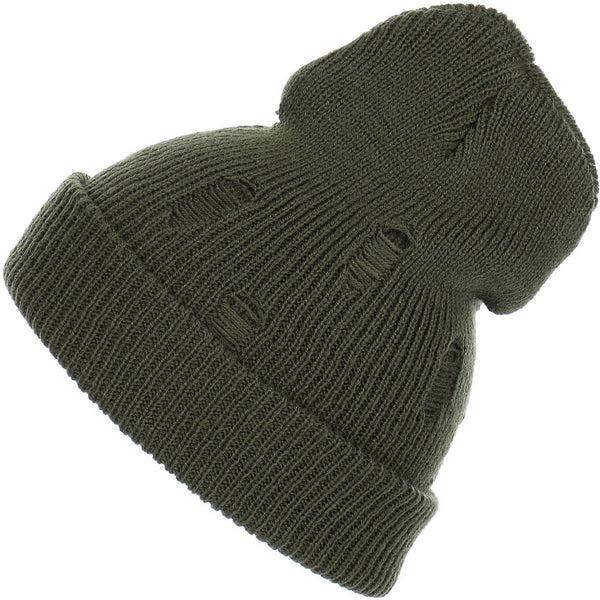Distressed Slouchy Unisex Ribbed Soft Knit Beanie