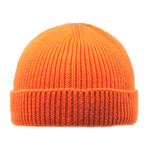 Short Skater Ribbed Knit Cuffed Beanie