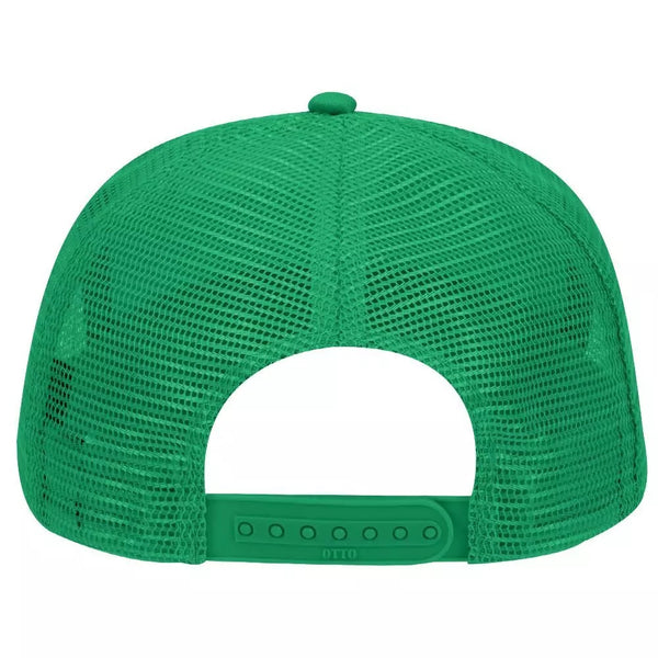 Cotton Blend Twill Five Panel Mid Profile Style Mesh Back Trucker Hat